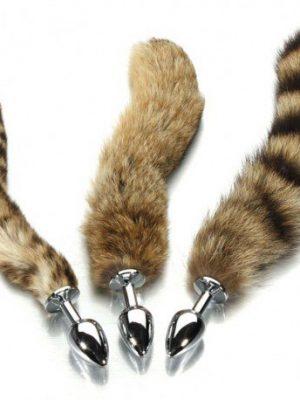 Fox Tail Brown Plated Metal Anal Plug-lovemakingtoy.com