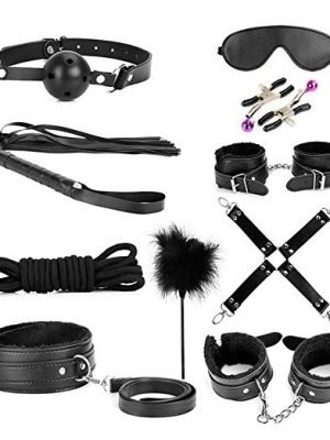 10 Piece Love Cuffs Bondage Kit Set Black BSK-019